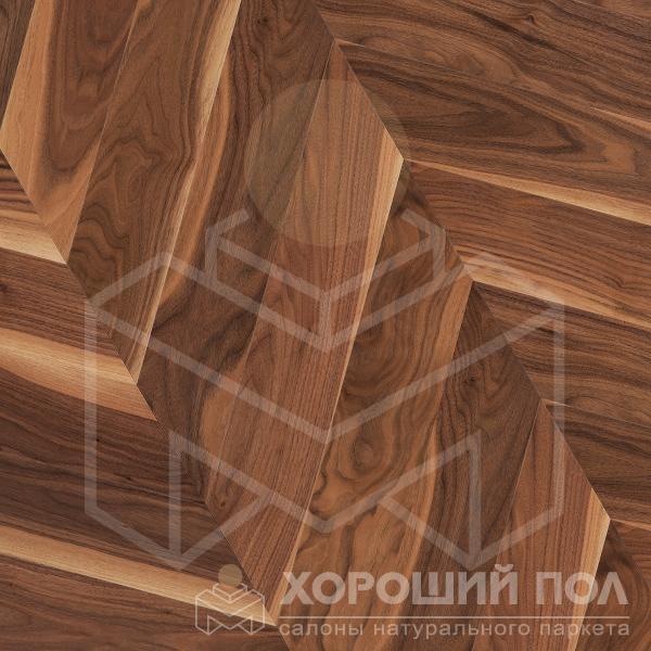 Паркет елка COSWICK Французская елка Орех Американский Натуральный Французская елка Лак 3-х слойный T&G (шип-паз) Традишинал 1369-3101