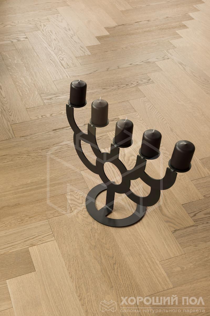 Паркет елка COSWICK Английская елка Дуб Пастель Ренессанс Масло шелковое 3-х слойный T&G (шип-паз) Селект энд Бэттер 1168-1247