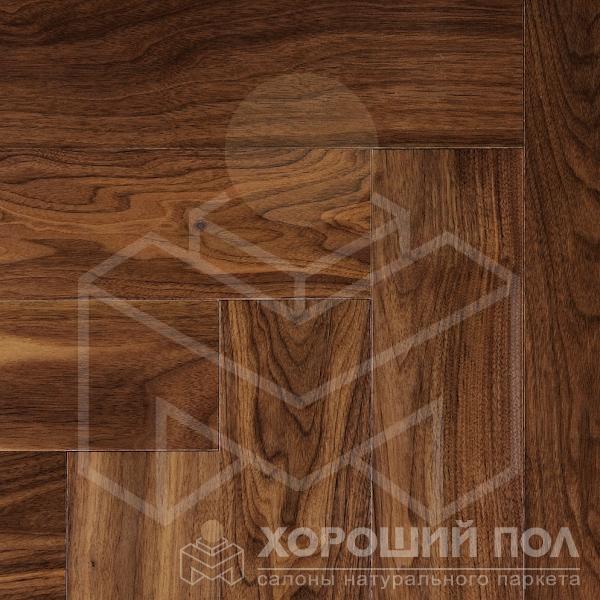 Паркет елка COSWICK Английская елка Орех Американский Натуральный Ренессанс Лак 3-х слойный T&G (шип-паз) Традишинал 1368-3101