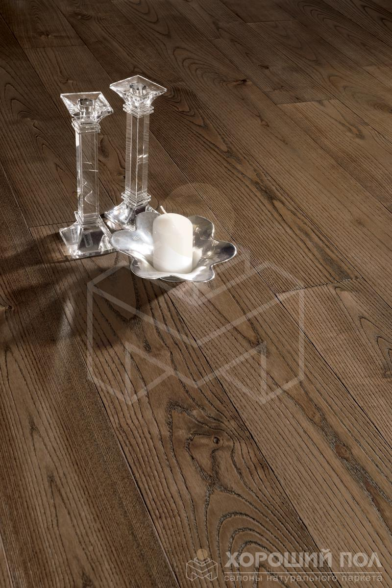 Инженерная доска COSWICK Ясень Мокка Бражированная Масло шелковое 3-х слойный T&G (шип-паз) 1 Коммон 1267-3243