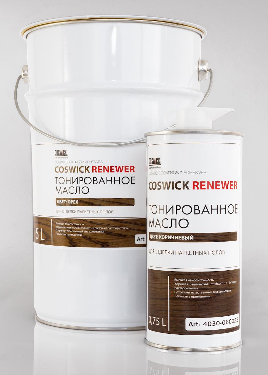 Масло COSWICK Бренди Тонированное масло для отделки паркетных полов  (0,75 л) 4030-060021